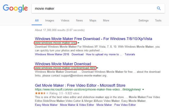 Ricerche che puntano al sito web con il finto WIndows Movie Maker