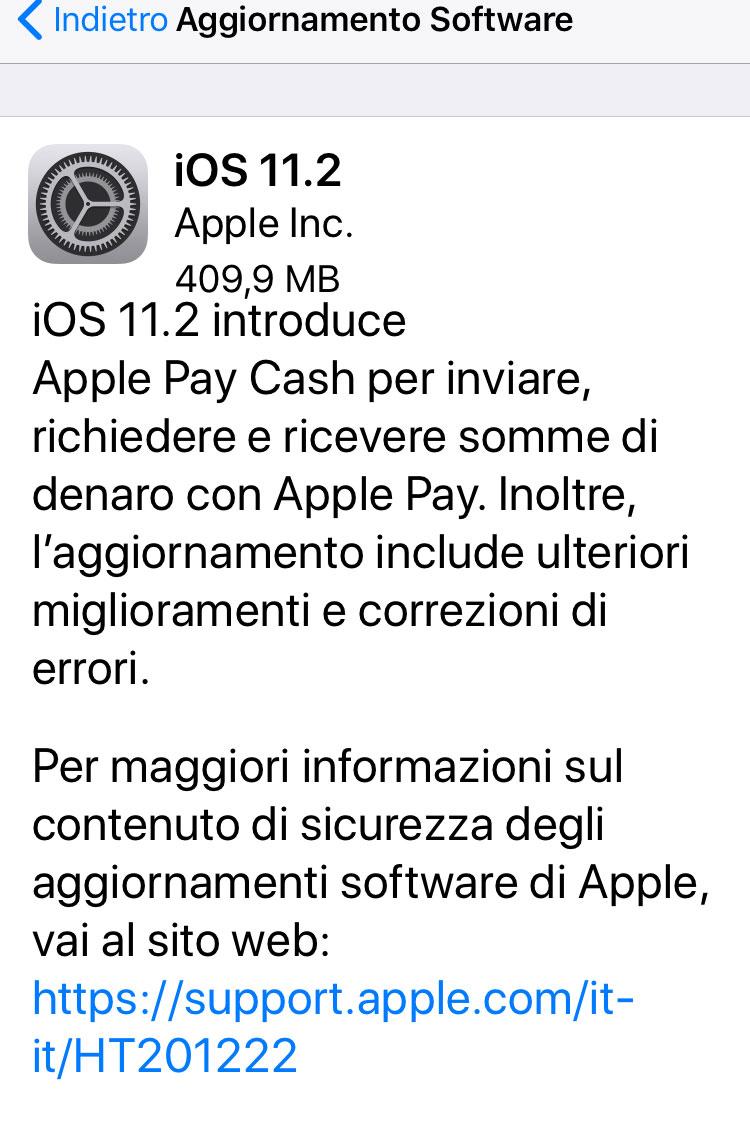 aggiornamento a iOS 11.2
