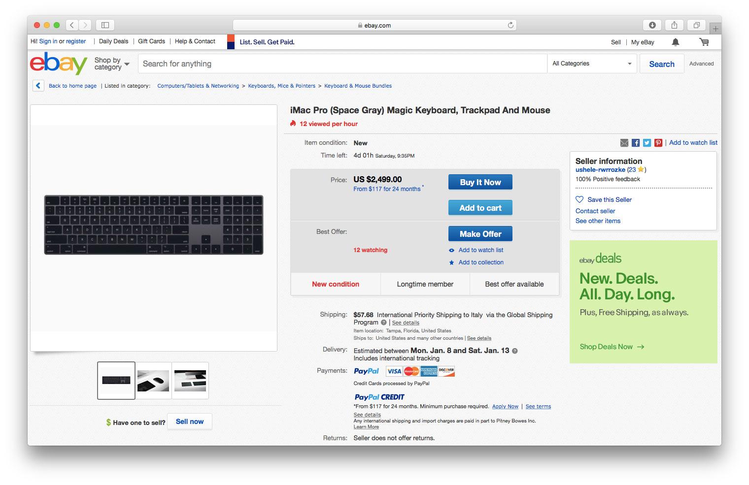 Annuncio su eBay accessori di iMac Pro