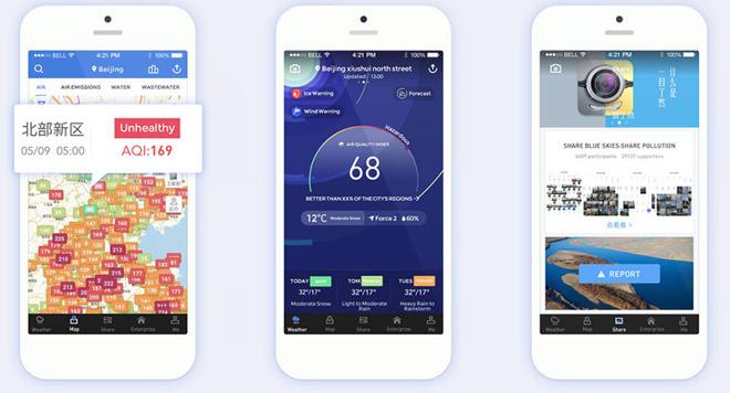 app iOS per monitorare l'ambiente in Cina