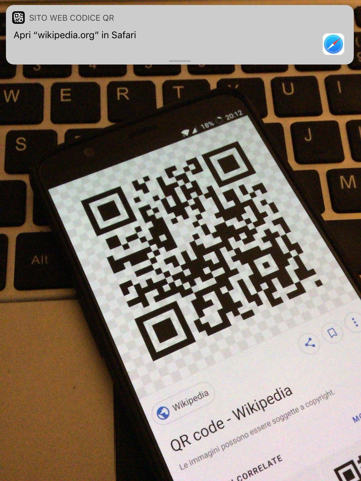 scansioni QR su iPhone