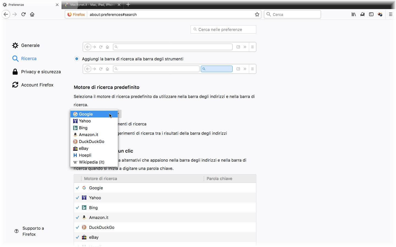 Motore di ricerca default - schermata di Mozilla Firefox