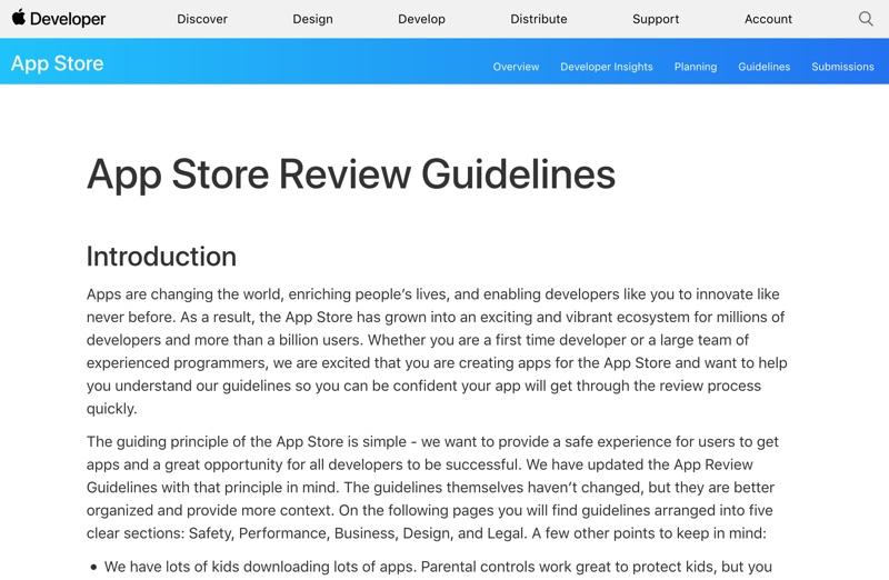 linee guida per sviluppatori - foto linee guida sviluppatori app store