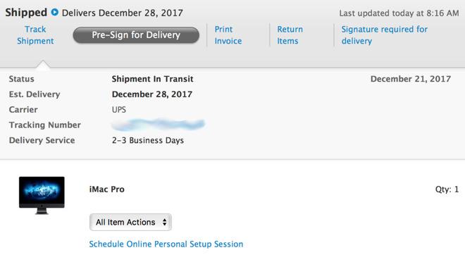 spedizioni imac pro - foto mail consegna imac pro 28 dicembre