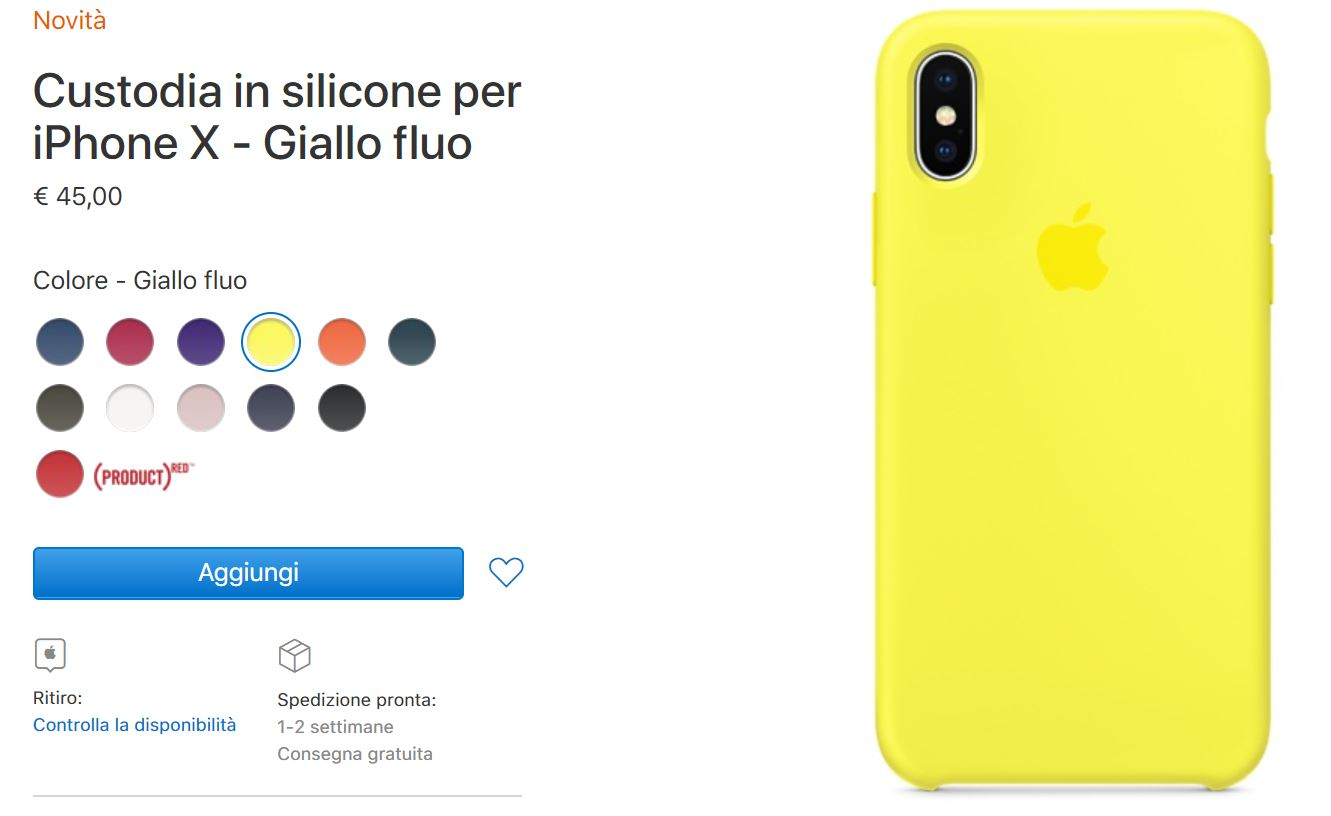 custodia silicone iphone x giallo fluo