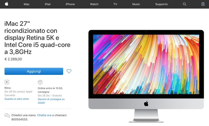 """imac 27"""" 5k ricondizionati apple store"""