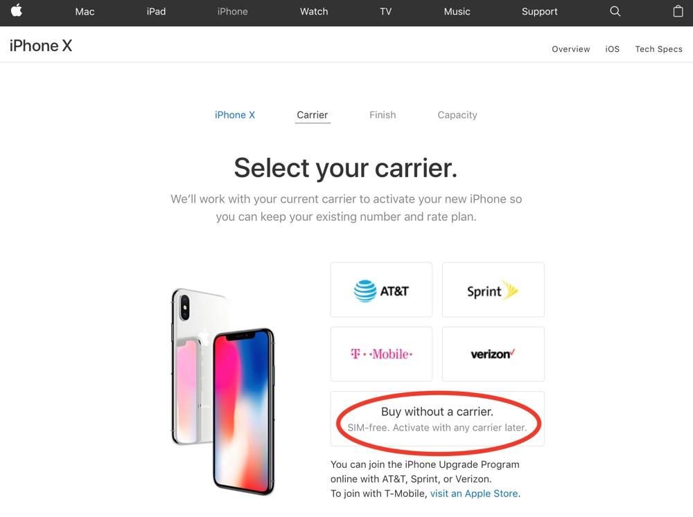 iphone x senza blocco sim