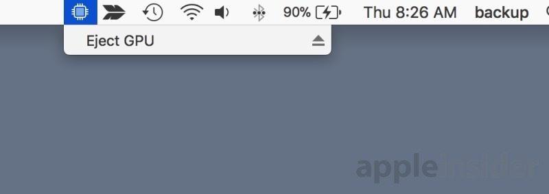 """La voce """"Espelli GPU"""" nella barra dei menu consente di rimuove al volo le eGPU senza bisogno di eseguire il logout"""