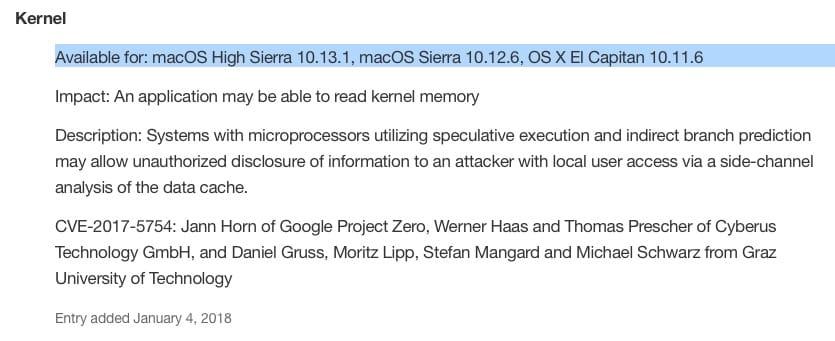 Le indicazioni riportate il 4 gennaio sul sito di supporto Apple