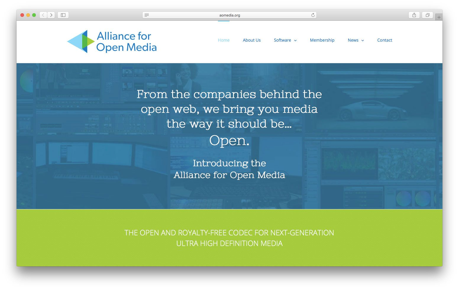 La home dell'Alliance for Open Media che promuove AV1 di cui Apple ora è parte