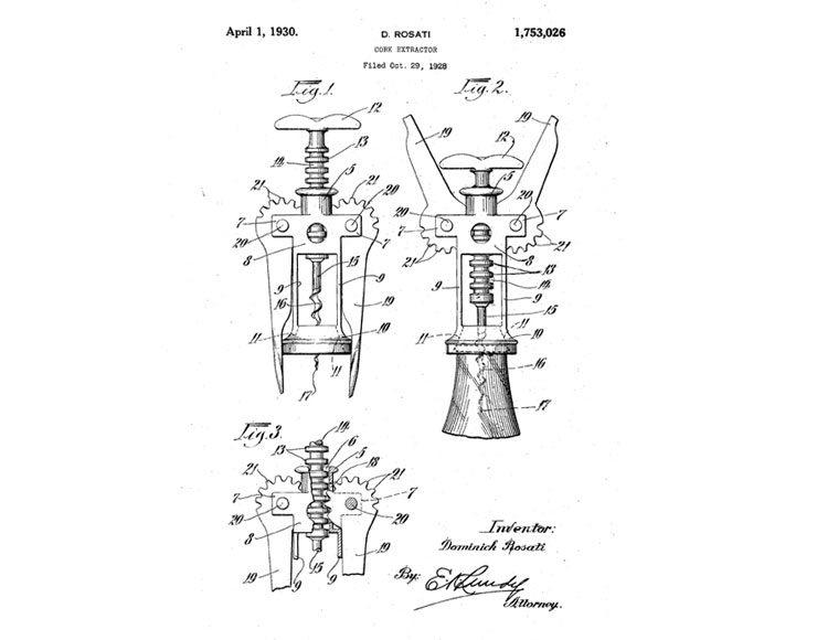 Il brevetto del cavatappi di Dominick Rosati