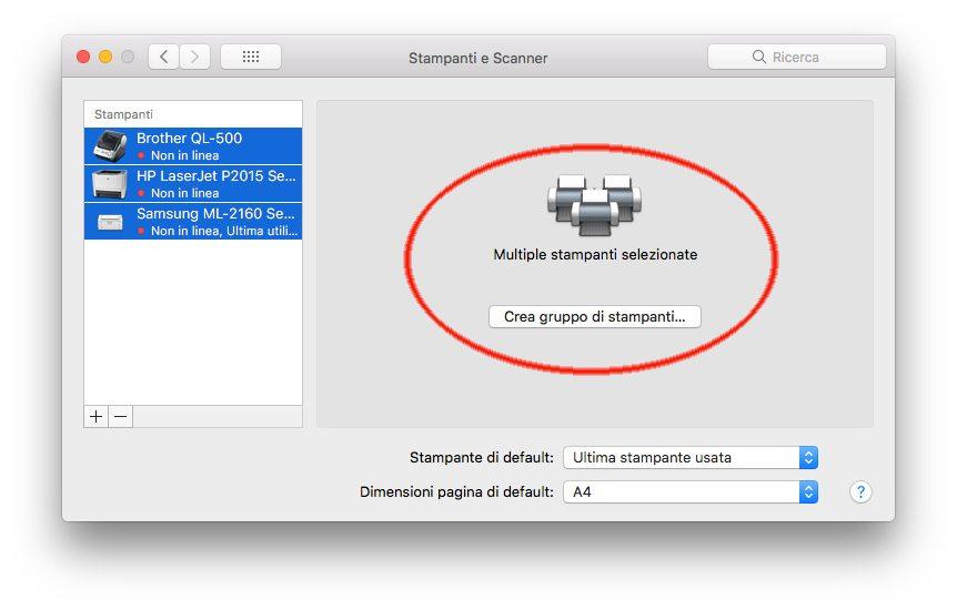 Crea gruppo di stampanti - 10 trucchi di macOS