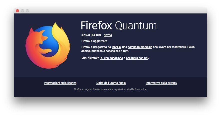 L'ultima versione di Firefox nel momento in cui scriviamo è la 57.0.3