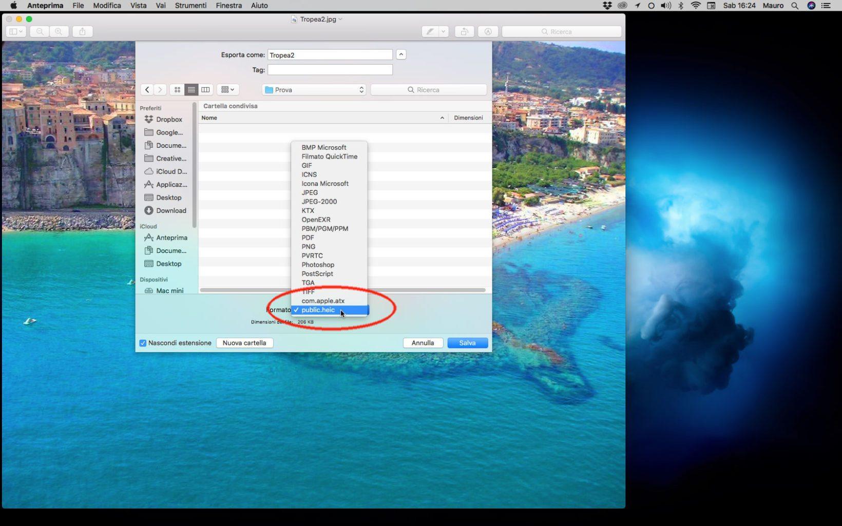 Salvare file in formato HEI su Mac