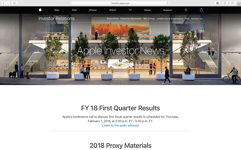 primo trimestre fiscale 2018 - foto Apple Investors Risultati Q1 2018
