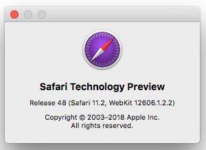 Safari 11.1 - foto info Safari Technology Preview