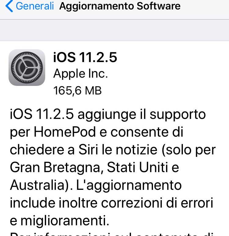 Aggiornamento iOS 11.2.5