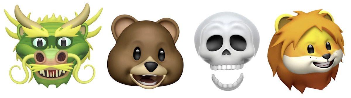 Nuove Animoji in iOS 11.3 includono un drago, un orso, un teschio e un leone per un totale di 16 personaggi diversi.