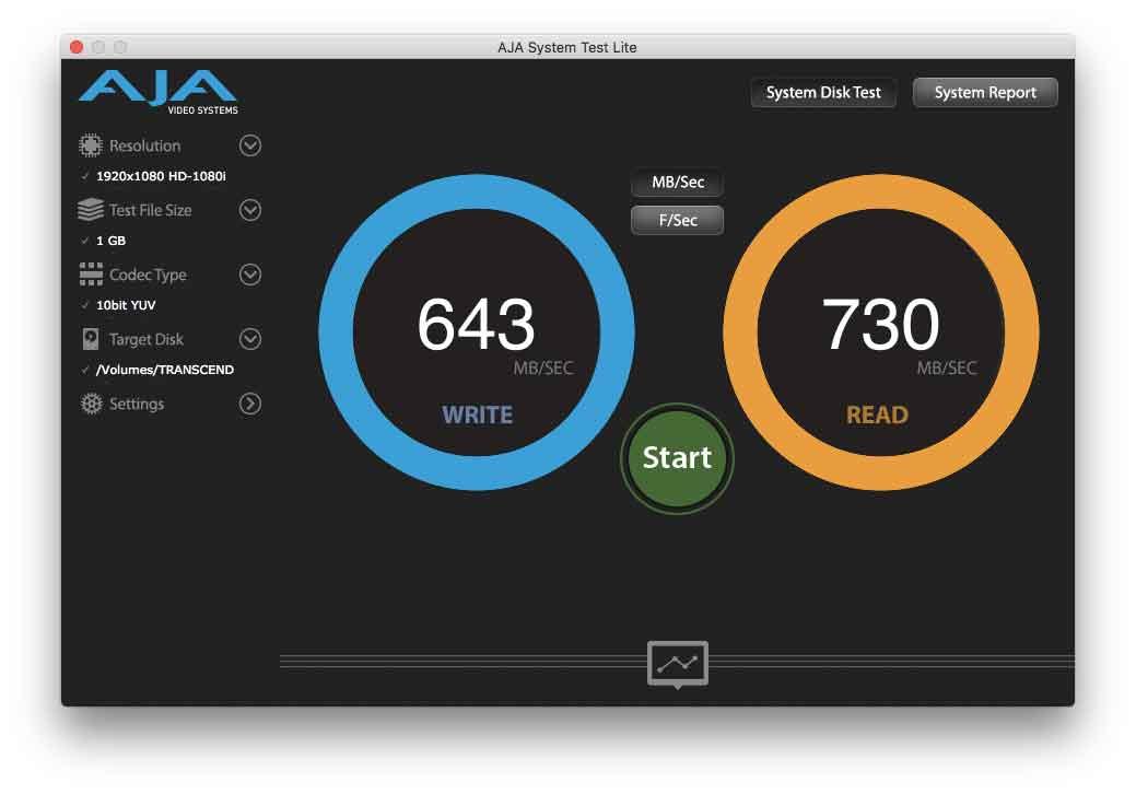 """Test dell'unità SSD JetDrive (con la sua unità interna di serie) collegata alla porta Thunderbot di un MacBook Air 13"""" fine 2015"""