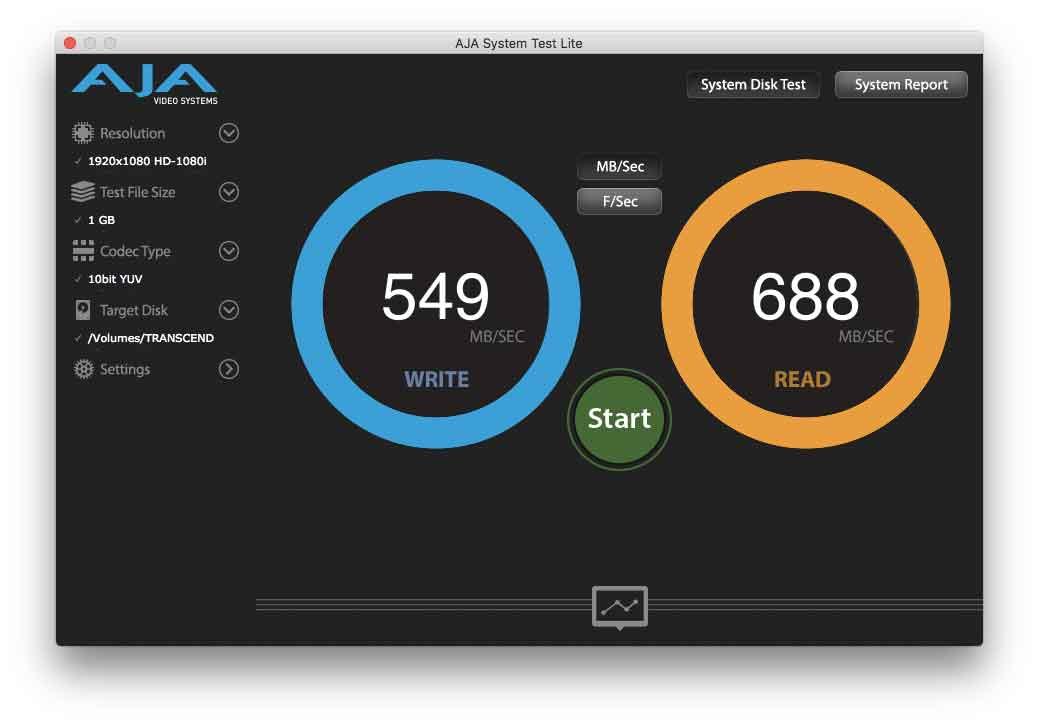 """Benchmark con unità JetDrive installata all'interno di un MacBook Air 13"""" inizio 2015"""