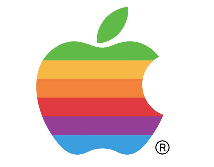 Logo Apple con mela colorata