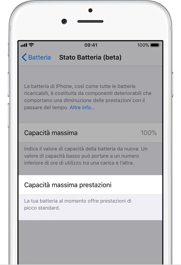 """Con iOS 11.3 quando le condizioni della batteria possono supportare prestazioni massime e le funzioni di gestione delle prestazioni non sono attive, viene visualizzato il messaggio """"La tua batteria al momento offre prestazioni di picco standard""""."""