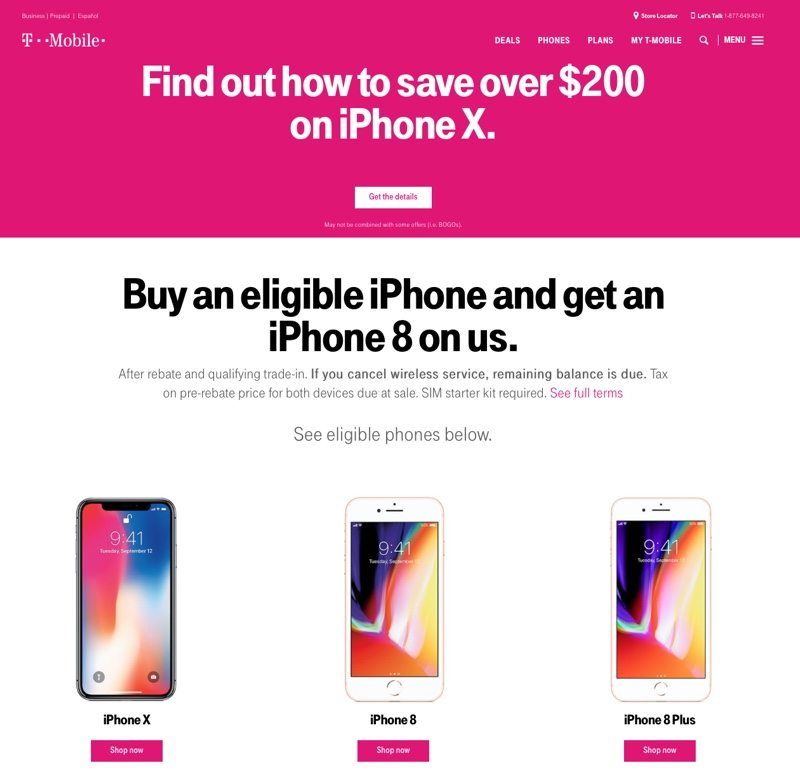 iphone x sconto t-mobile