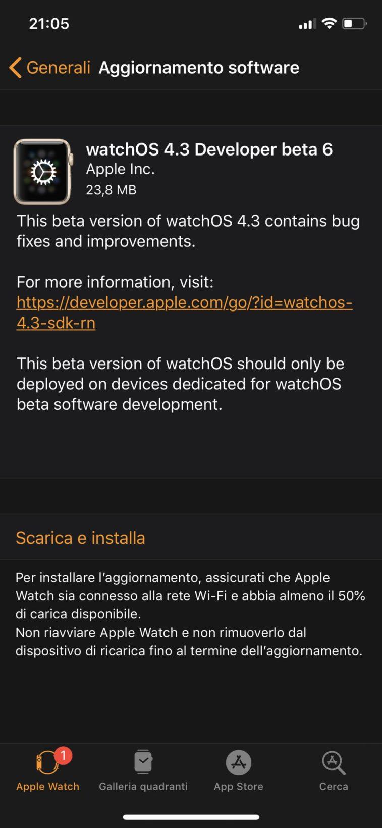 Sesta beta di watchOS 4.3