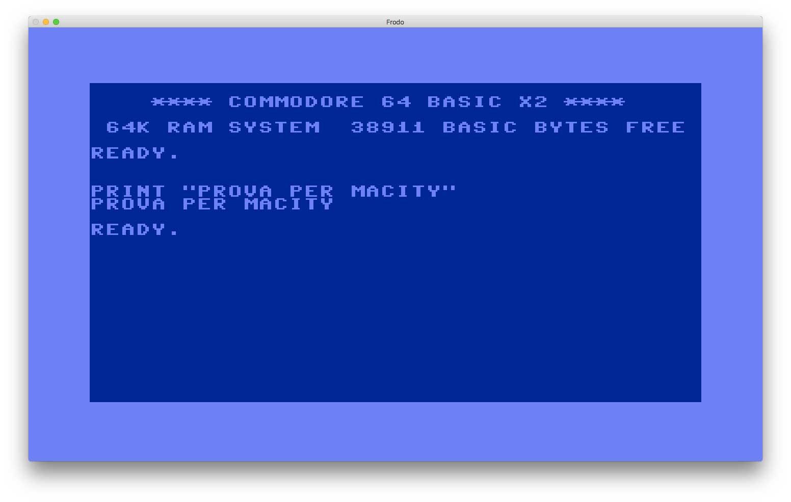 Frodo è un emulatore di Commodore 64: offre diversi livelli di emulazione, simula la presenza del floppy disk drive 1541, emula il chip video (VIC-II) e supporta file in formato D64, X64, T64 e LYNX.
