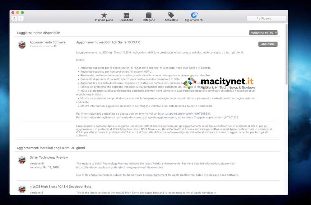 novità macOS 10.13.4