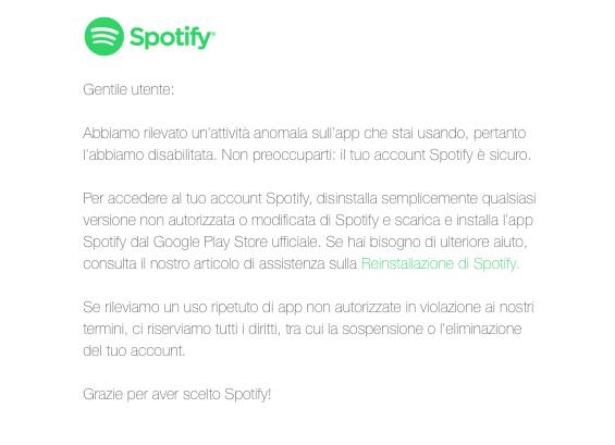 APK Spotify Premium - foto messaggio Spotify agli utenti