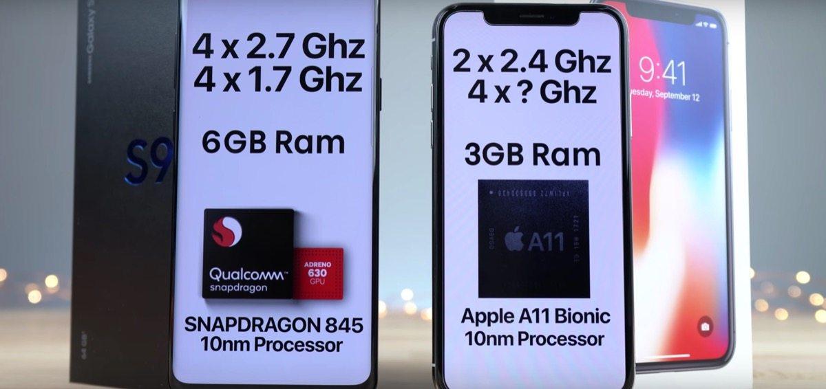 velocità iphone x galaxy s9