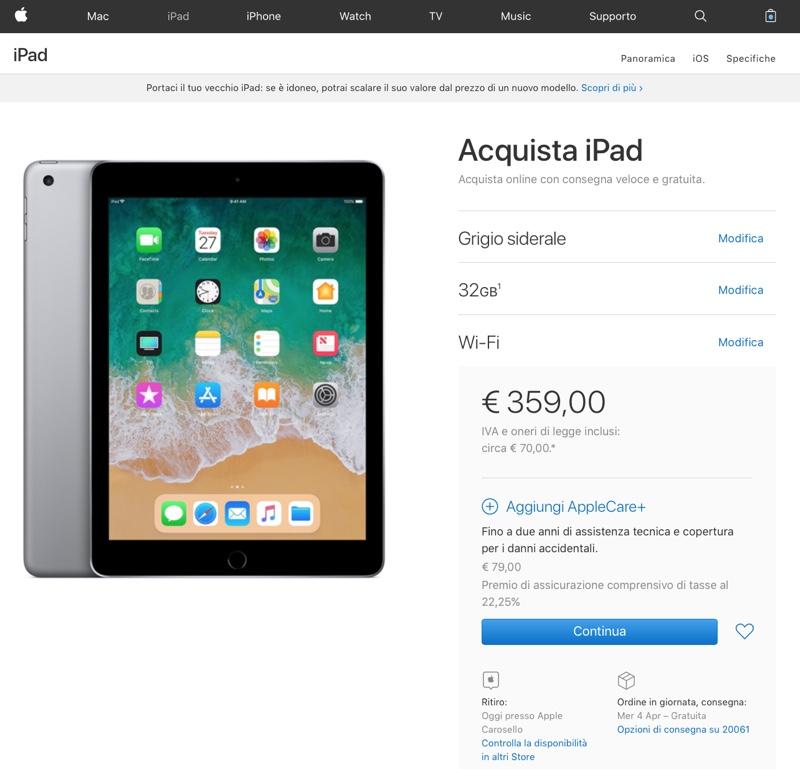 ipad 2018 disponibile - foto nuovo ipad 2018 apple store online