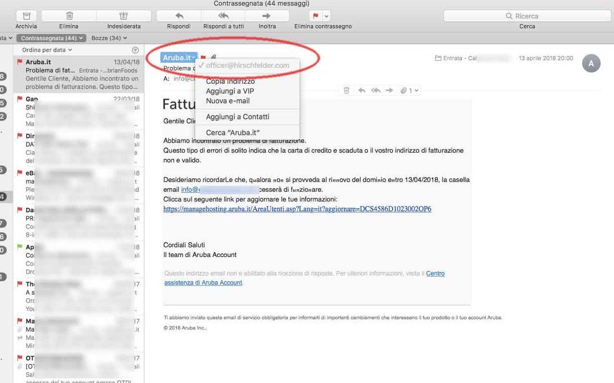 phishing Aruba ecco la falsa mail