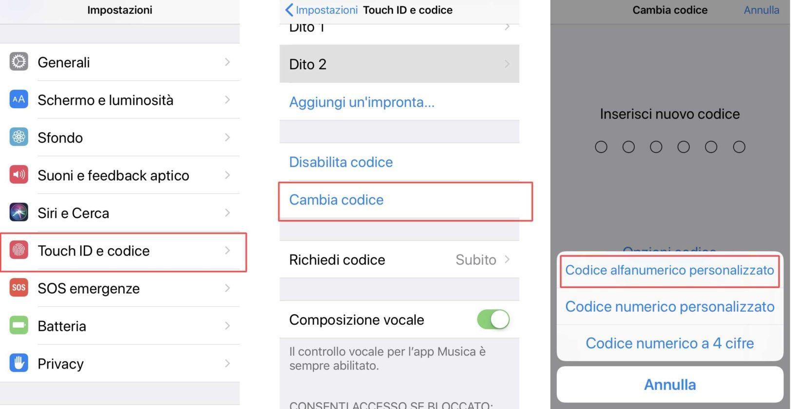 Impostare un codice di sblocco lungo sull'iPhone