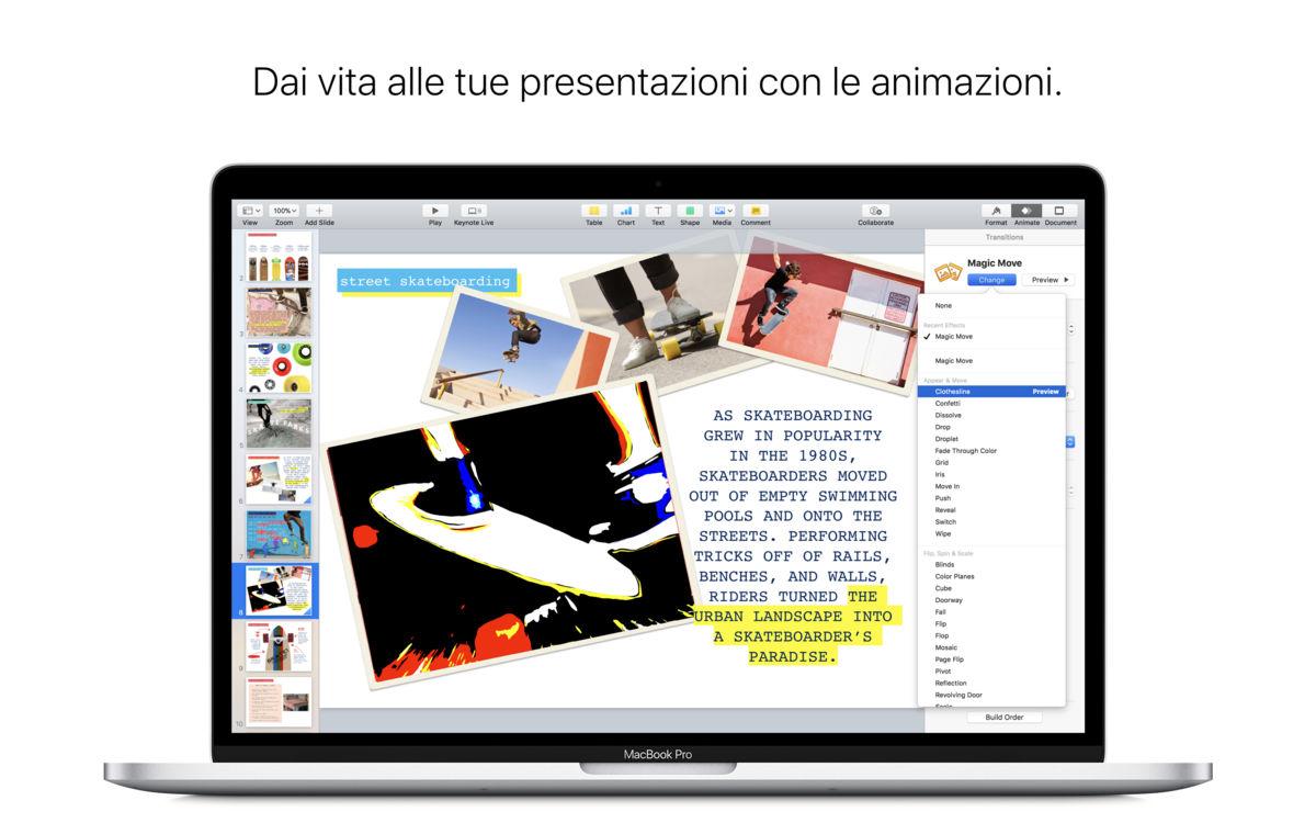 screenshot di keynote per mac