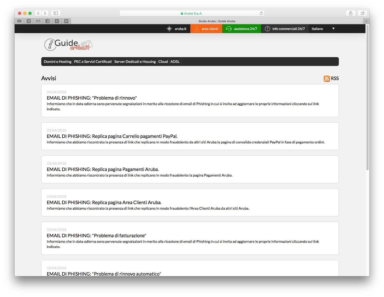 Sul sito di Aruba sono indicati vari esempi di tentativi di phishing