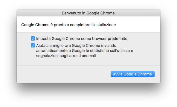 La finestra che compare al primo avvio di Chrome o dopo il reset completo delle impostazioni.