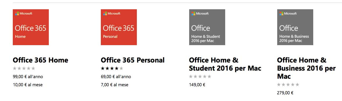 I prezzi di Office per Mac