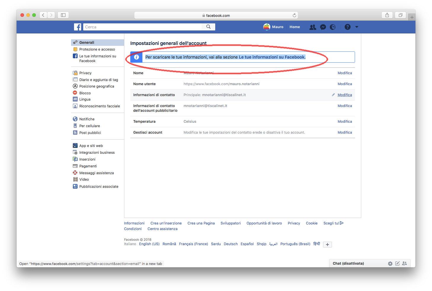 Cosa sa Facebook su di me?