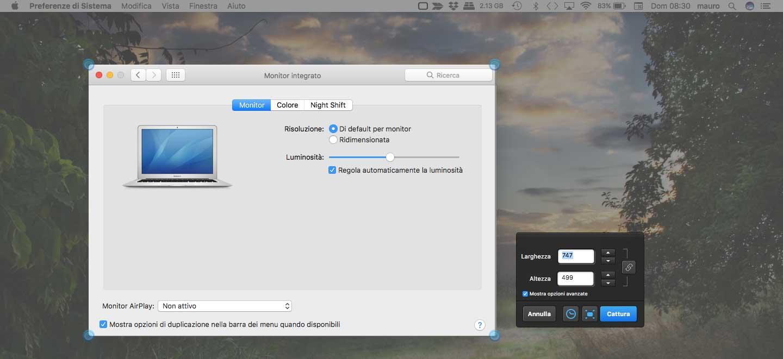 Esempio schermata catturata con Skitch