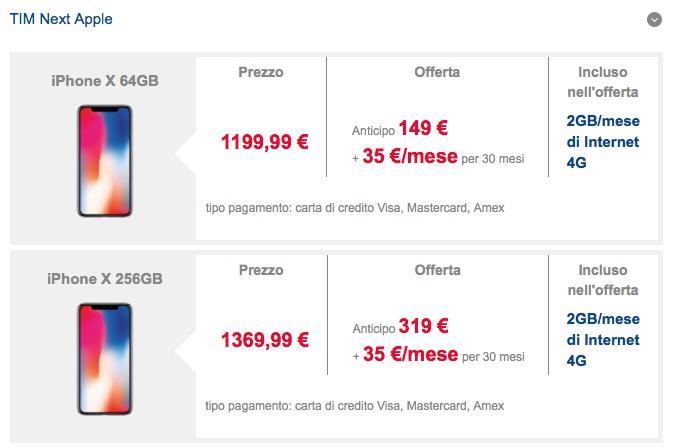prezzi iPhone X Tim