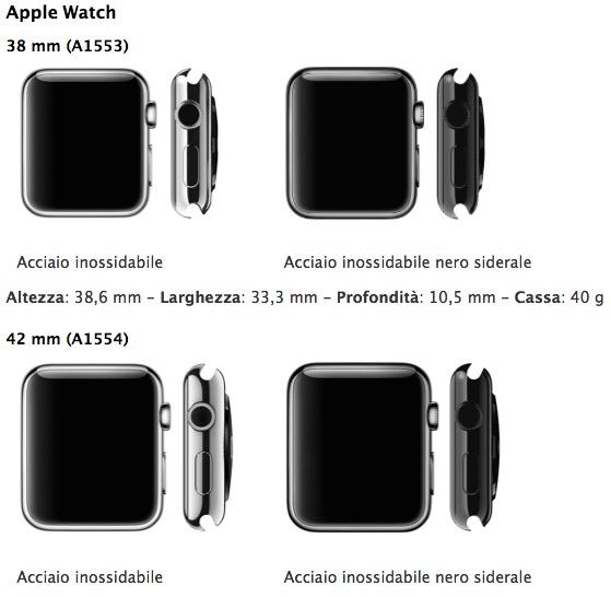 dimensione apple watch