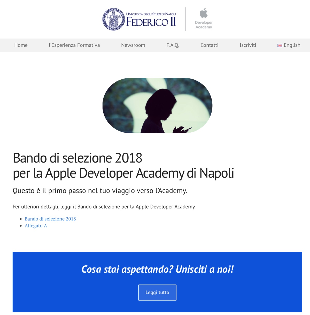 apple developer academy, foto sito web università federico II di Napoli