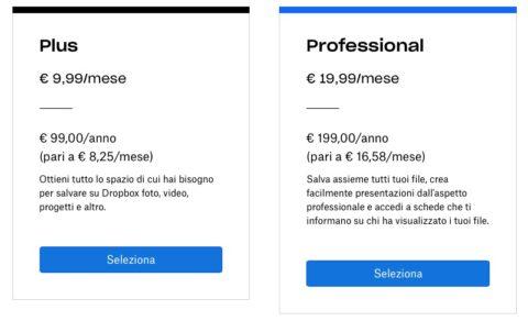 dropbox quanto costa