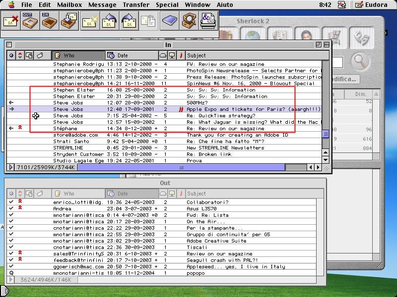 Mail scambiate (usando Eudora) molti anni addietro dallo scrivente con Steve Jobs