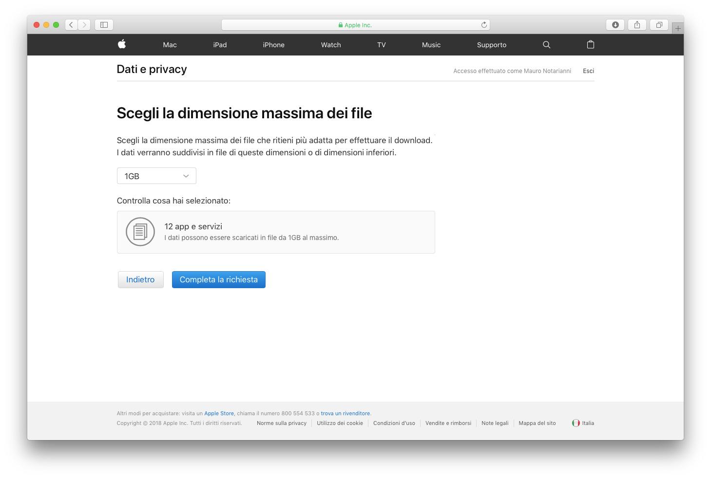 GDPR, Apple consente agli utenti di scaricare tutti i dati personali in conformità al nuovo regolamento UE