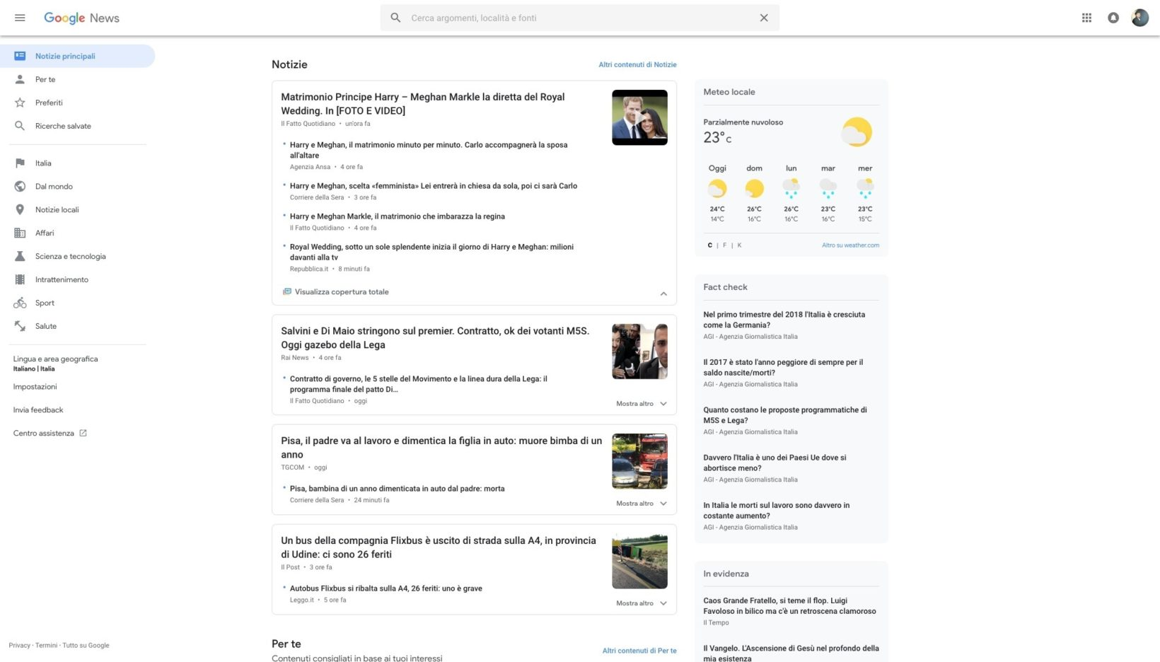 Google news web