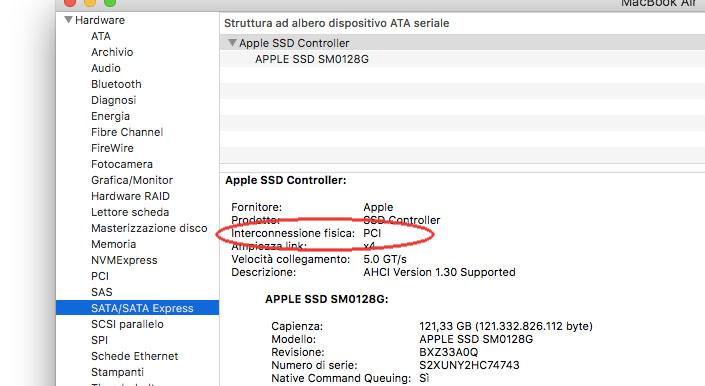 """Per verificare il tipo di interconnessione fisica usata dal unità disco attualmente installata nel nostro Mac possiamo sfruttare l'utility """"Informazioni di sistema"""""""