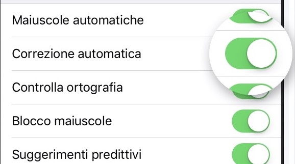 le preferenze dalla tastiera di iPhone